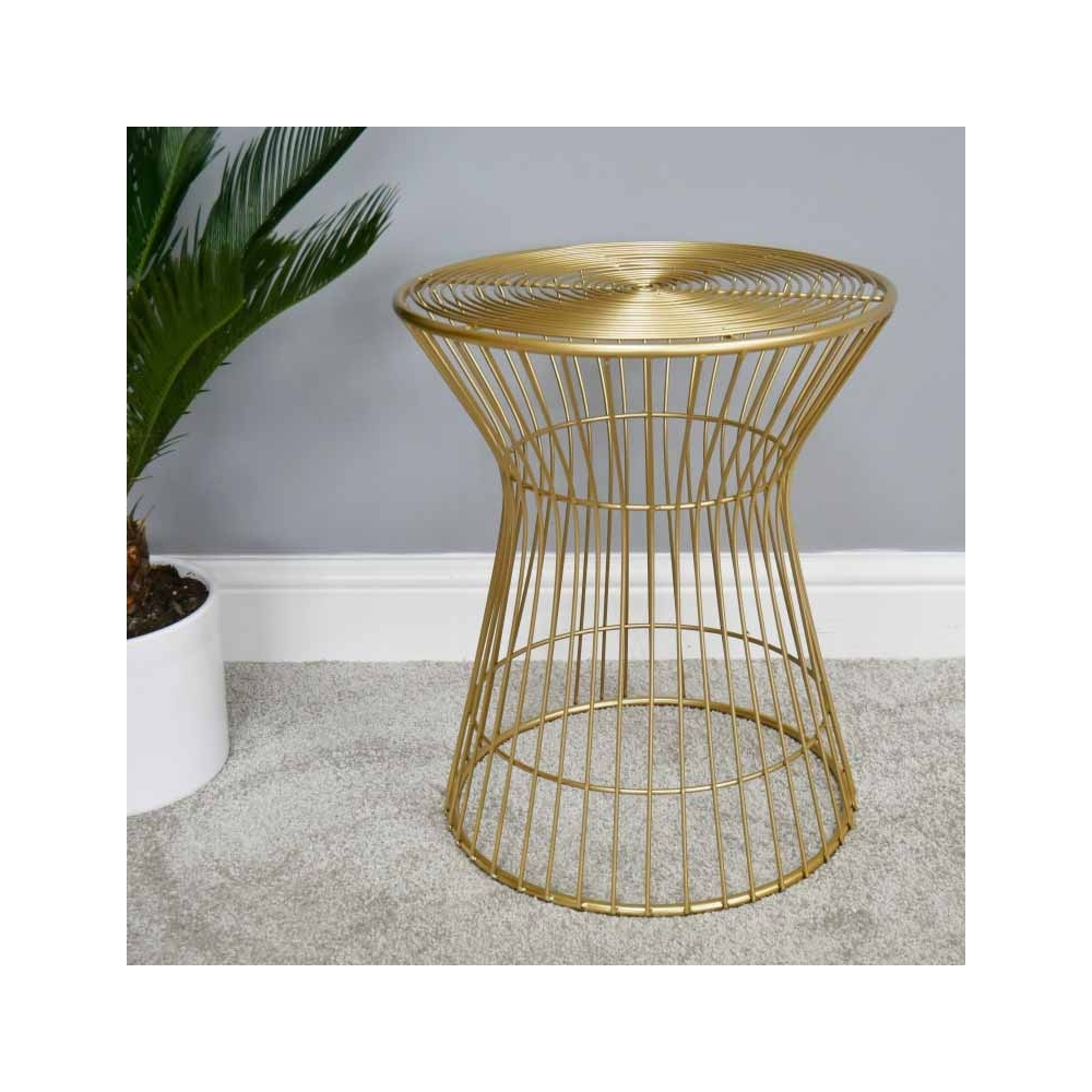 Sidetable 200 Cm Breed.Gold Hourglass Shaped Industrial Side Table