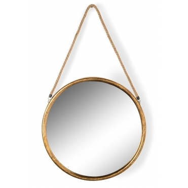 Gold Round Mirror on Hanging Rope - Large