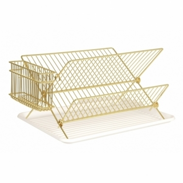 Gold Wire Dish Rack Drainer with Tray
