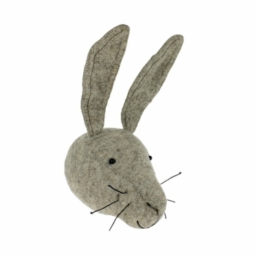 Grey Hare Felt Animal Head Wall Mounted