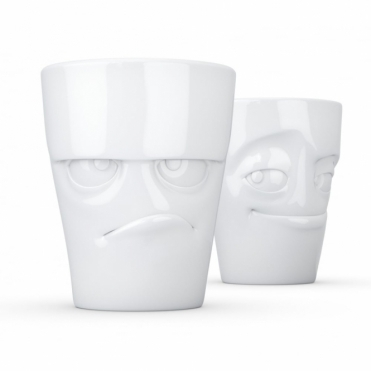 Grumpy & Impish Face Porcelain Mugs - Set of 2