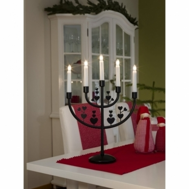 5 Bulb Metal Candelabra Light Black With Decoration
