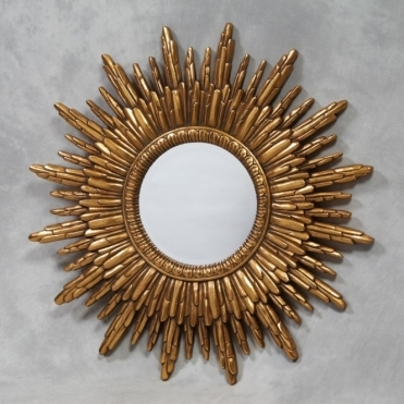 Antique Gold Sunburst Wall Mirror