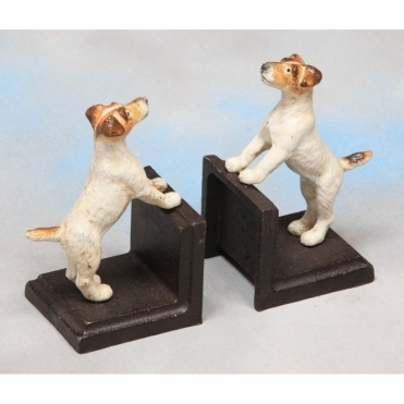 Cast Iron Antiqued Terrier Dog Bookends - Pair