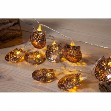 Copper Filigree Owl LED Fairy String Lights - Battery Operated