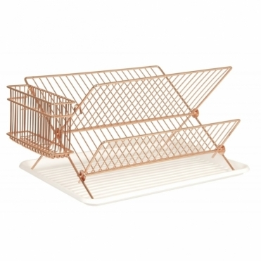 Copper Wire Dish Rack Drainer with Tray