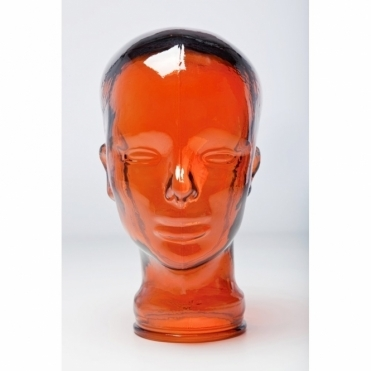 Decorative Glass Head Display Stand Orange