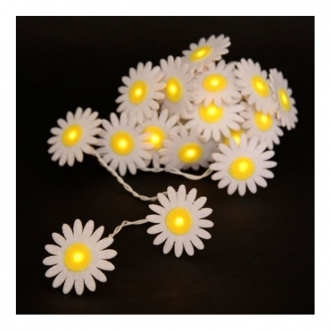 Felt Daisy Flower Chain LED Fairy String Lights Battery Operated