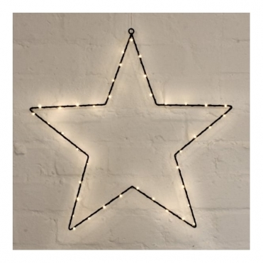 Large Metal Star Light Black - Warm White LEDs