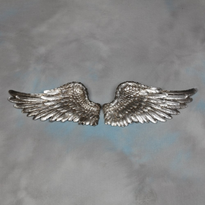 Pair of decorative silver angel wings wall decor for Angel wings wall decoration uk