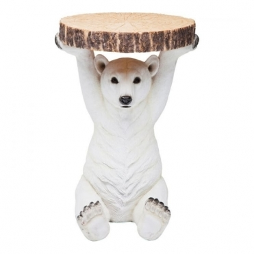 Polar Bear Holding Tree Trunk Slice - Side Table