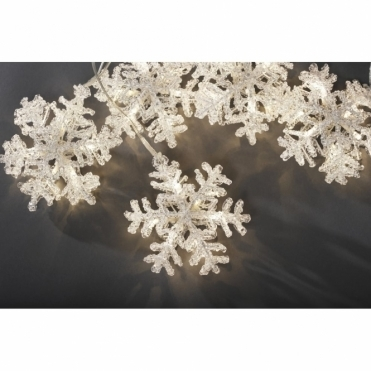 Set of 5 Snowflake Lights Warm White LEDs