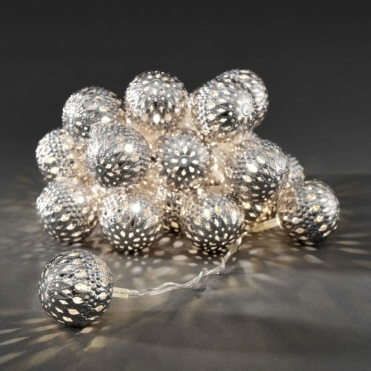 Silver Maroq Metal Sphere LED Fairy String Lights Mains Powered