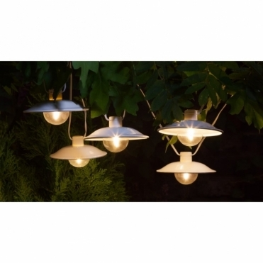 Solar Warm White LED Saucer Lanterns - Multi Function Lights