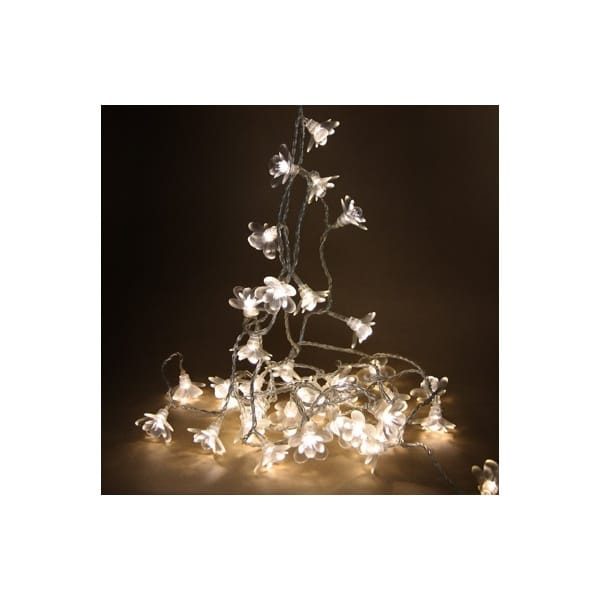 String Lights Mains Powered : White Moon Flower LED String Lights Chain Mains Operated