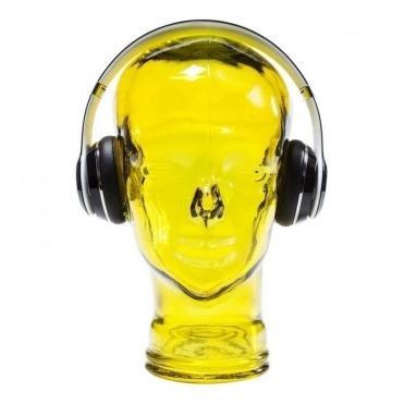 Headphone Mount Glass Head Display Stand - Yellow