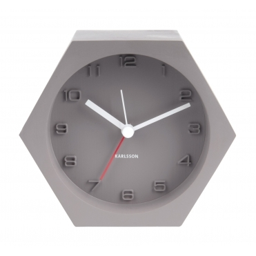 Hexagon Concrete Alarm / Mantel Clock - Dark Grey