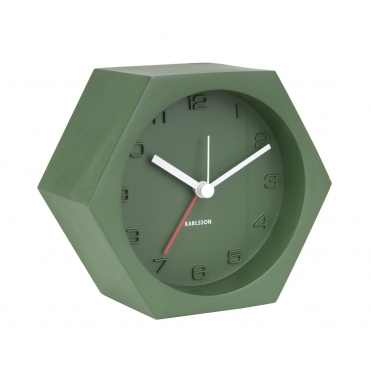 Hexagon Concrete Alarm / Mantel Clock - Green