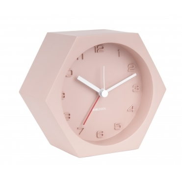 Hexagon Concrete Alarm / Mantel Clock - Pink