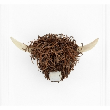 Highland Cow Head Wooden Sculpture - Wall Mounted