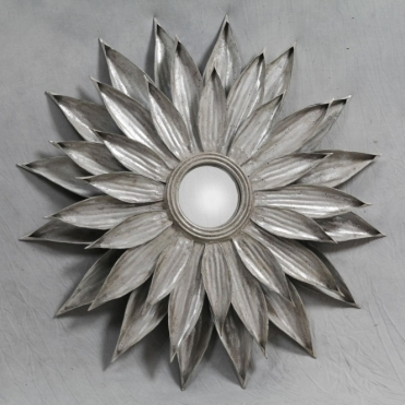 Antique Silver Triple Layer Petal Sunflower Wall Mirror - Large
