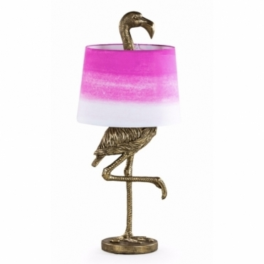 Antiqued Gold Large Flamingo Table Lamp with Light Shade