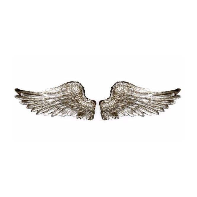 Hurn & Hurn Discoveries Antiqued Silver Angel Wings Wall Decor - Pair