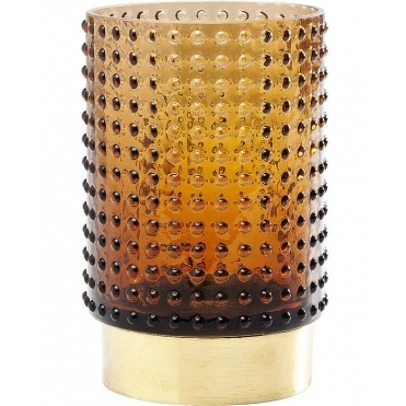 Barfly Textured Vase - Brown with Gold Base