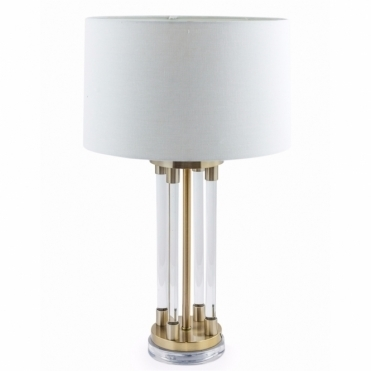 Brass & Glass Tubes Deco Table Lamp with Shade