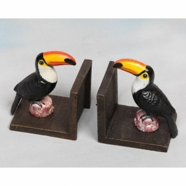 Cast Iron Antiqued Toucan Bookends - Pair