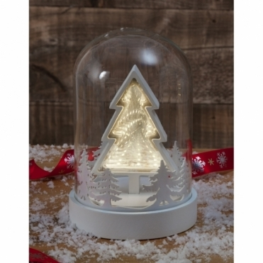 Christmas Tree Infinity Mirror Dome Bell Jar - Illuminated LEDs
