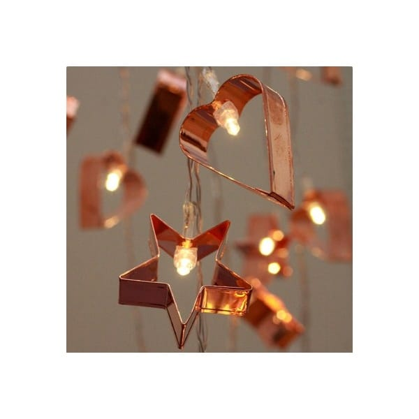 Copper Cookie Cutter LED String Fairy Lights Mains Powered