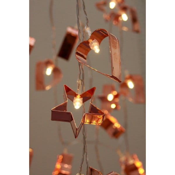 String Lights Mains Operated : Copper Cookie Cutter LED String Fairy Lights Mains Powered