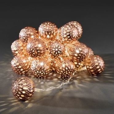 Copper Maroq Metal Sphere LED Fairy String Lights Mains Powered