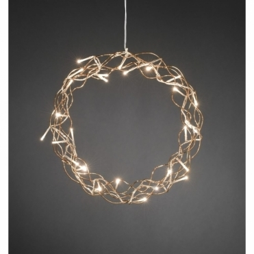 Copper Metal Christmas Wreath Warm White LEDs