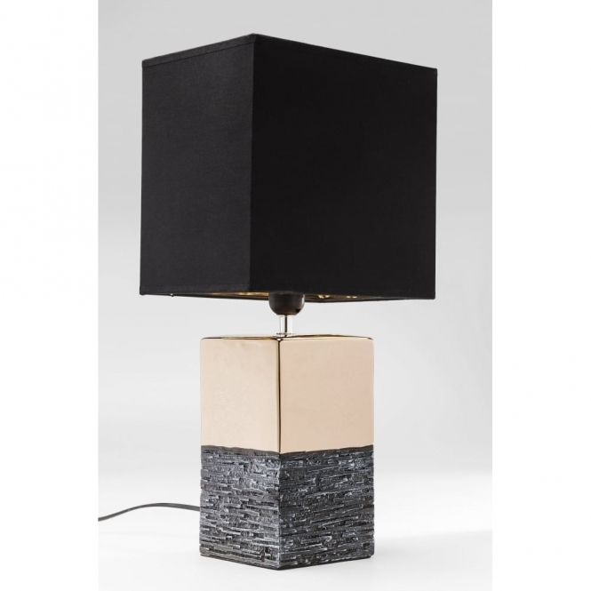 Hurn & Hurn Discoveries Creation Table Lamp with Light Shade - Black & Gold