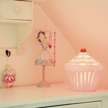 Cupcake Table Lamp / Night Light - White