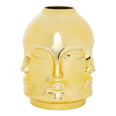 Deco Faces Vase - Gold