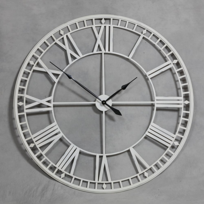 Extra large antique cream metal skeleton wall clock Oversized metal wall clocks