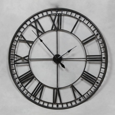Extra Large Black Metal Skeleton Wall Clock