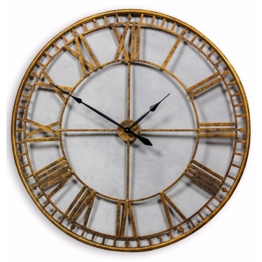 Extra Large Metal Skeleton Wall Clock - Gold
