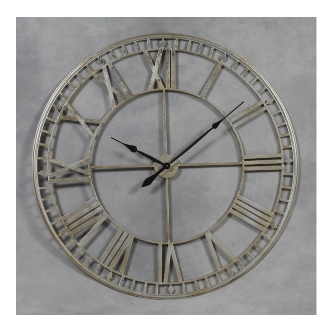 Hurn & Hurn Discoveries Extra Large Metal Skeleton Wall Clock - Silver