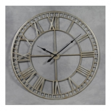 Extra Large Metal Skeleton Wall Clock - Silver