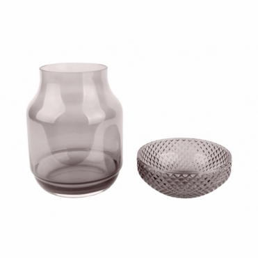 Gem Glass Vase & Bowl - Dark Grey