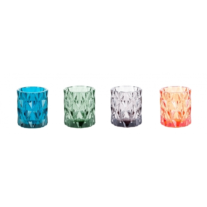 Hurn & Hurn Discoveries Gem Tealight Holders Various Colours - Set of 4