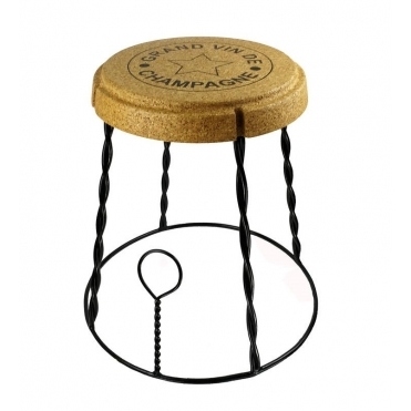 Giant Champagne Cork Wire Cage Stool / Side Table - Black