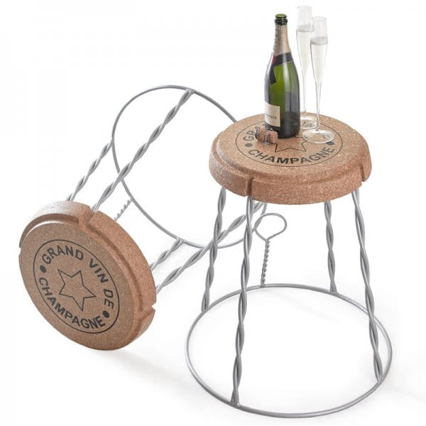 Giant Champagne Cork Wire Cage Stool Side Table Silver
