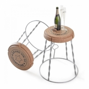 Giant Champagne Cork Wire Cage Stool / Side Table Silver