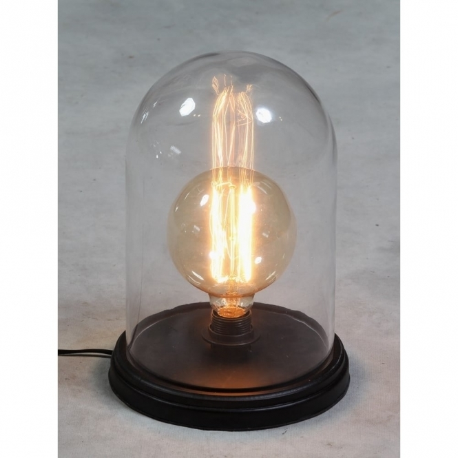 Glass Cloche Dome Bell Jar With Wooden Base Table Lamp