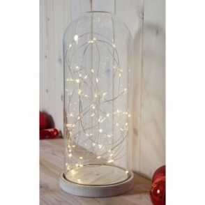 Hurn & Hurn Discoveries Glass Dome Bell Jar with Base & Warm White LED Fairy String Lights - Large